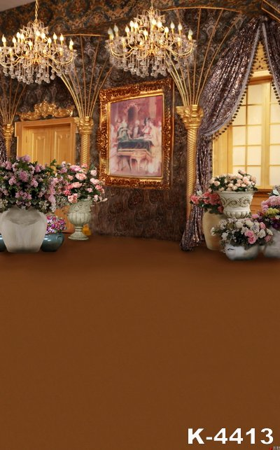 Gorgeous Royal Brown Color Wedding Floor Photo Background Beauty Oil Painted & Lamp Backdrop Photographic Colorful Flowers Props