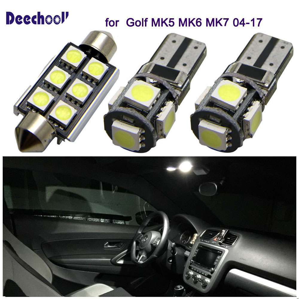 deechooll 7x Car LED Bulbs for VW Golf MK5 MK6 MK7 04-17,Canbus White Interior Light for Volkswagen Golf 5 6 7 Reading lights 5pcs canbus led 12v for skoda octavia 2015 rear reading lights bulbs trunk interior light lamp kit package
