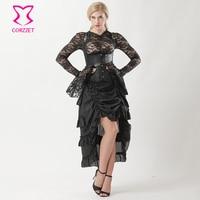 1f2d40092 Victorian Gothic Corset Skirt Burlesque Dress Black Brocade Steampunk  Underbust Corset Vest Steel Boned Corsets And