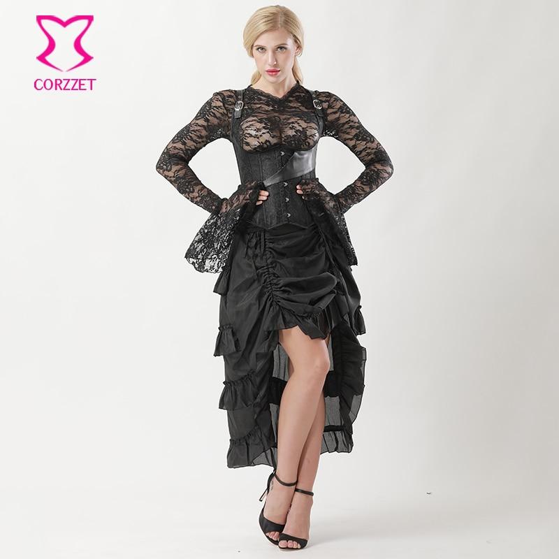 Victorian Gothic   Corset   Skirt Burlesque Dress Black Brocade Steampunk Underbust   Corset   Vest Steel Boned   Corsets   and   Bustiers