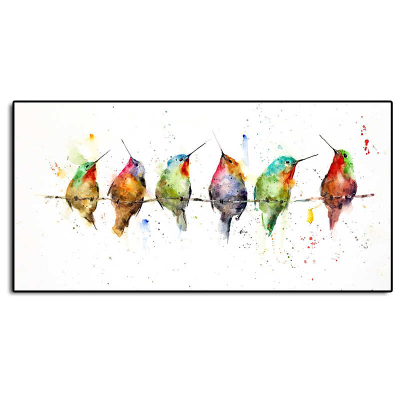 Hummingbird On A Wire Minimalist Watercolor Art Canvas Poster Painting Wall Picture Print Modern Home Bedroom Decoration Artwork