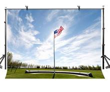 150x220cm American Flag Backdrop Sky Meadow Remembrance Day Photography BackgroundPhoto Screen