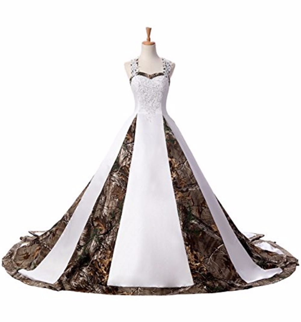Bealegantom Sexy Sweetheart White and Camouflage Wedding Dresses 2018 Long  Lace Up Camo Bridal Gowns Vestido ceb4ff2bd700