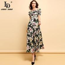 LD LINDA DELLA Fashion Spring Summer %Cotton Dress Womens Pleated Ruffles Floral Printed Elegant High Waist Party Long Dresses