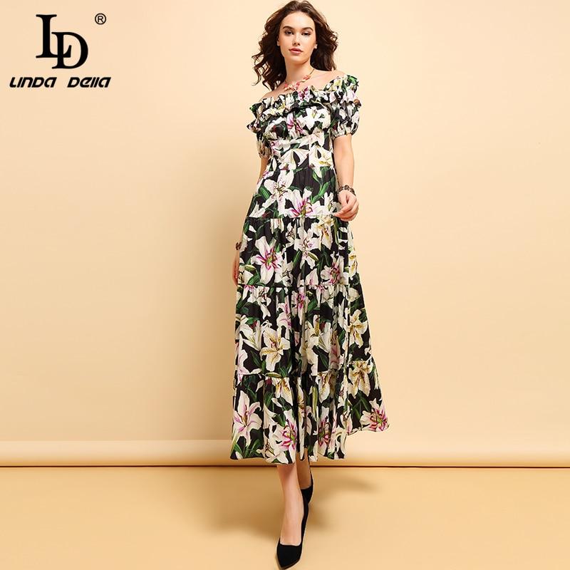 LD LINDA DELLA แฟชั่นฤดูใบไม้ผลิฤดูร้อนผ้าฝ้ายของผู้หญิงจีบ Ruffles Floral พิมพ์สูงเอวยาวชุด-ใน ชุดเดรส จาก เสื้อผ้าสตรี บน   1
