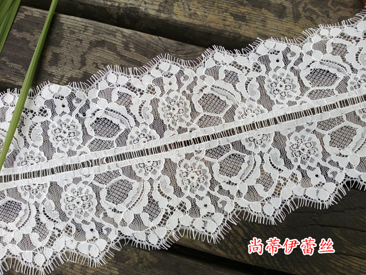 3 Meters 16CM Wide Fashion High Quality Handmade DIY Off White Wedding Dress Eyelash Lace Trim