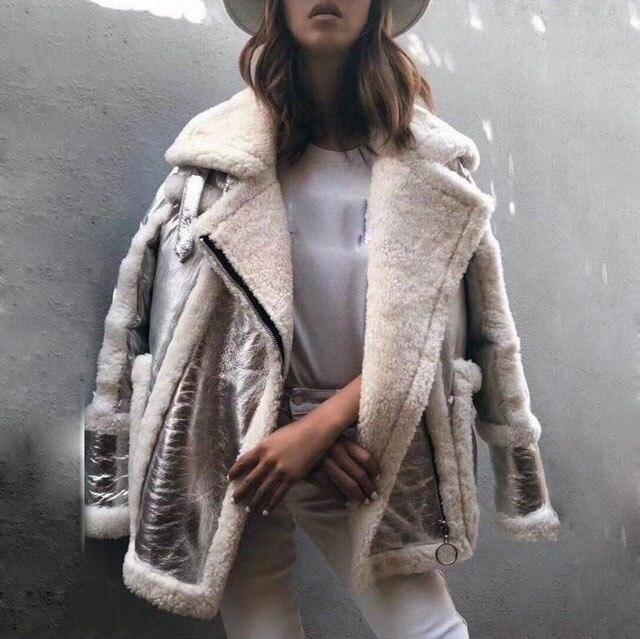 2018 nuove donne del cuoio genuino e di pelliccia di anatra giù cappotto di colore argento di lusso femminile zip allentato turn down collare di spessore outwear giacca