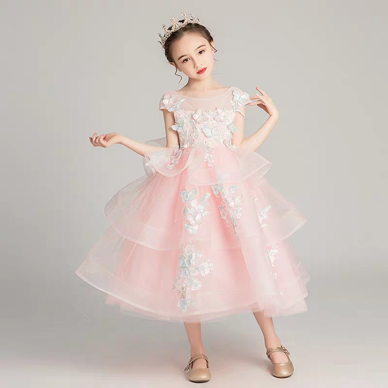 4~14Years Children girls Sweet Pink Color Birthday Wedding Party Layers Fluffy Princess Dress Kids Teens Host Pageant Prom Dress4~14Years Children girls Sweet Pink Color Birthday Wedding Party Layers Fluffy Princess Dress Kids Teens Host Pageant Prom Dress