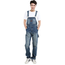 New Men s fashion pocket denim overalls for boys Male casual loose jumpsuits Plus large size