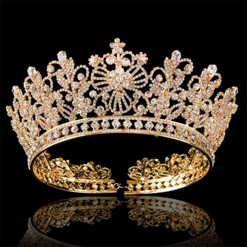 Luxury Bride tiara crown for women wedding accessories prom pageant headdress queen king diadem rhinestone flower hair jewelry