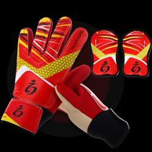 Sport Youth Kids Soccer Goalie Training Anti-Slip Breathable Gloves with Leg Guard Protector