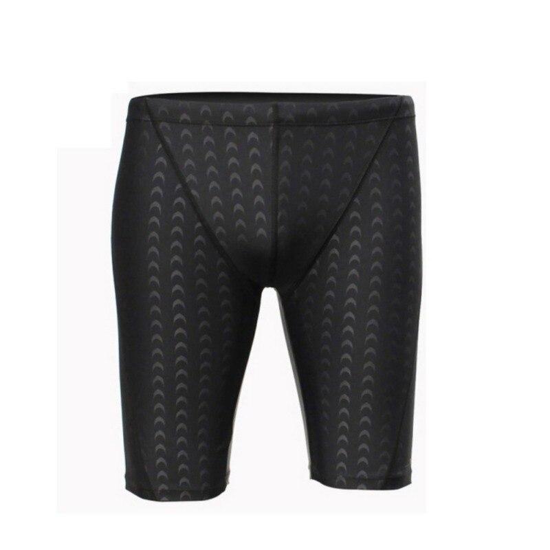 2018 New Men Professional Competitive Swim Trunks Shark Skin Swimwear Solid Jammer Swimsuit Fifth Pant L-4XL j2