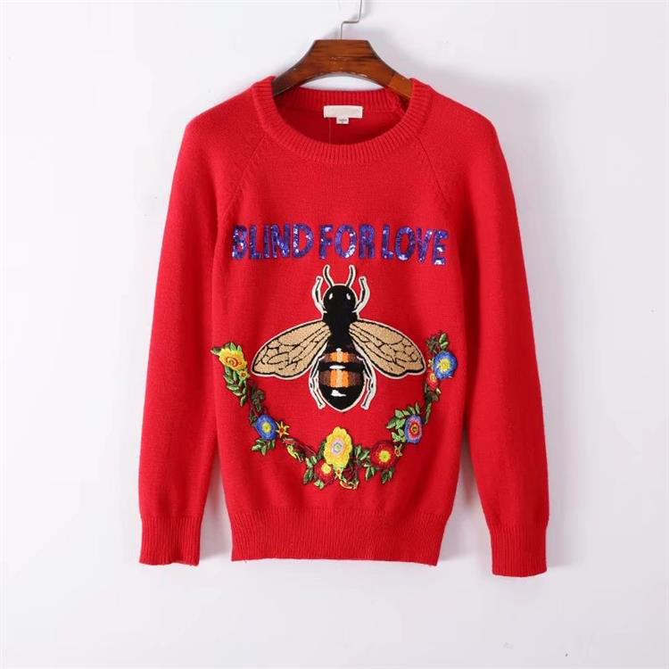 HTB1BJTrh7.HL1JjSZFuq6x8dXXav - BLIND FOR LOVE Women Embroidery Sweaters Red Christmas Long Sleeve O Neck Floral Bee Sweater PTC 299