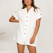 15aded19b40f White Button Casual Linen Jumpsuit Summer Cotton Combinaison Femme Rompers  Women Jumpsuits 2019 Clothes Overalls Shorts