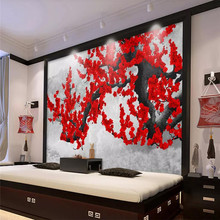 3D wallpaper new Chinese ink hand-painted plum wall professional production mural photo wallpaper все цены