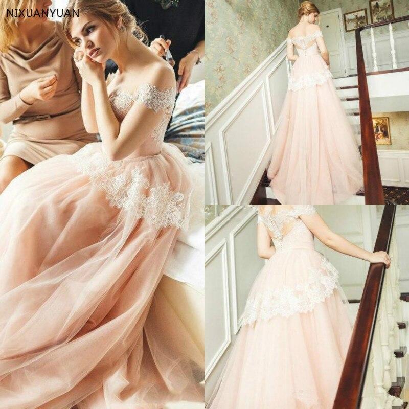 2019 Lace Tulle A Line Wedding Dresses Off The Shoulder