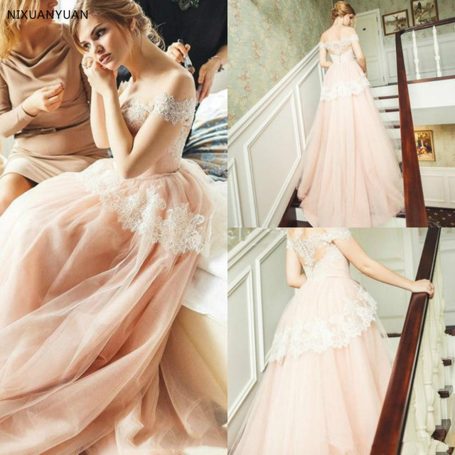 2019 Lace Tulle A Line Wedding Dresses Off The Shoulder Blush Pink ...