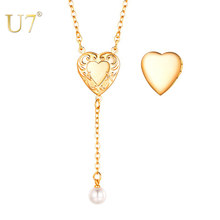 "U7 Women Girls Locket Necklace Silver / Rose Gold Photo Lockets Pendant with Rolo Chain 18"", Birthday/Anniversary Gift P1246(China)"