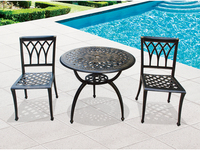 Courtyard bar cast aluminum table and chairs set Resort open air balcony simple three piece coffee table chair set