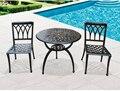 Patio bar mesa de fundición de aluminio y sillas conjunto Complejo sencilla balcón al aire libre de tres piezas de la silla de mesa de café conjunto