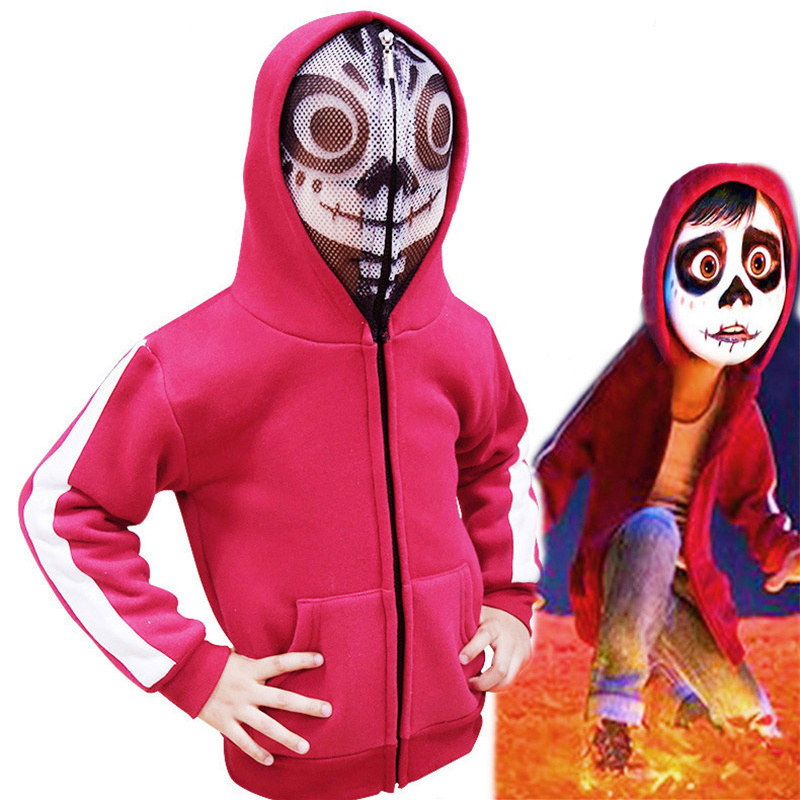 Movie COCO Miguel Cosplay Costumes Red Coat Mask Hoodies Sweatshirt Vest Long Sleeve Jacket For Kids Girls Boys Suit Clothes