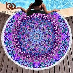 BeddingOutlet Bohemian Round Beach Towel Blue and Purple Tassel Tapestry Microfiber Yoga Mat Boho Toalla Blanket 150cm Fashion