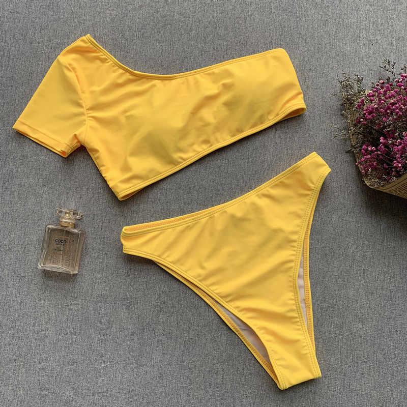 Seksi Perban Bikini Baju Renang Push Up Putih Baju Wanita Brasil High Waist Bikini Set 2 Piece Swimsuit Mini Bikini 2019