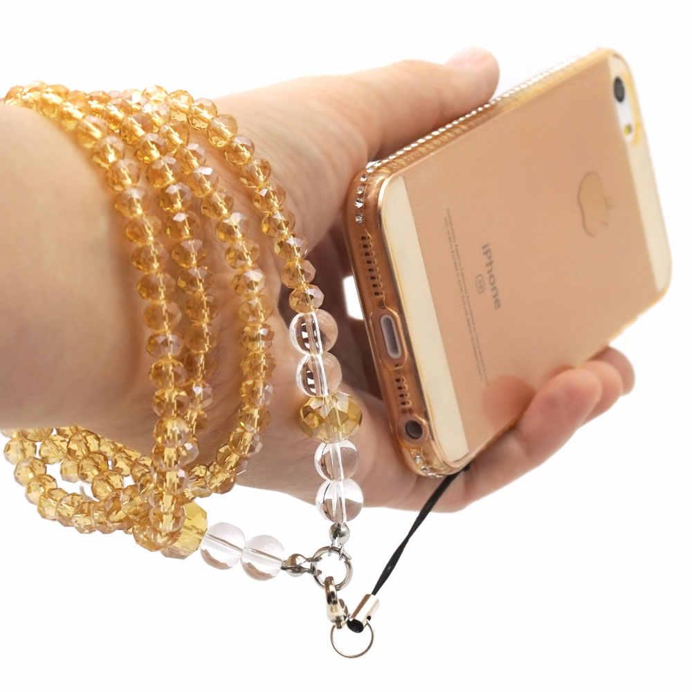 Ascromy Kristal Shiny Manik-manik Berlian Imitasi Leher Tali Lanyard untuk Ponsel Kamera USB Flash Drive Kunci ID Kartu Nama Wanita kalung