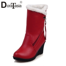 DoraTasia New Plus Size 30-52 Comfort Wedges Booties Ladies Winter Warm Ankle Snow Boots Women 2019 Fashion High Shoes Woman