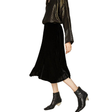 Buenos Ninos vintage black elegant velour skirts high waist medium long women party pleated skirts 40 buenos ninos красная роза s