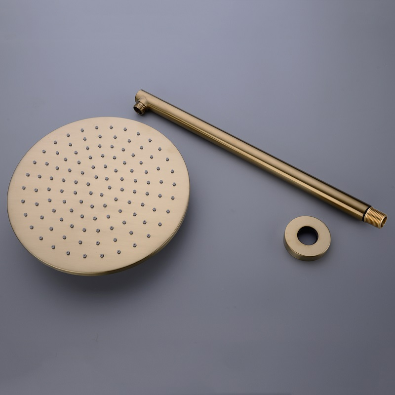 Brass Rainfall Shower Set Brush Gold or Black Wall Mounted Bathroom Shower Head Hot and Cold Mixing Shower Tap 16 028 in Shower System from Home Improvement