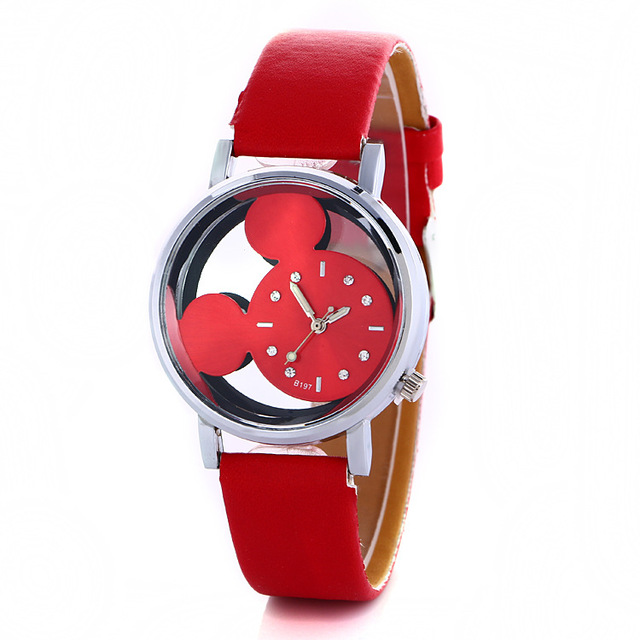 Fashion Lovely women gilrs Hollow Out Minnie Mouse Style Dial Leather Quartz Wri