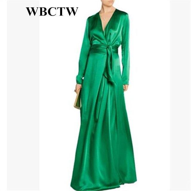d4d357d30e WBCTW Maxi Long Satin Dress Deep V-Neck Solid Vintage Long Sleeve Autumn High  Waist Dress 7XL Big Size Custom Made Woman Dress