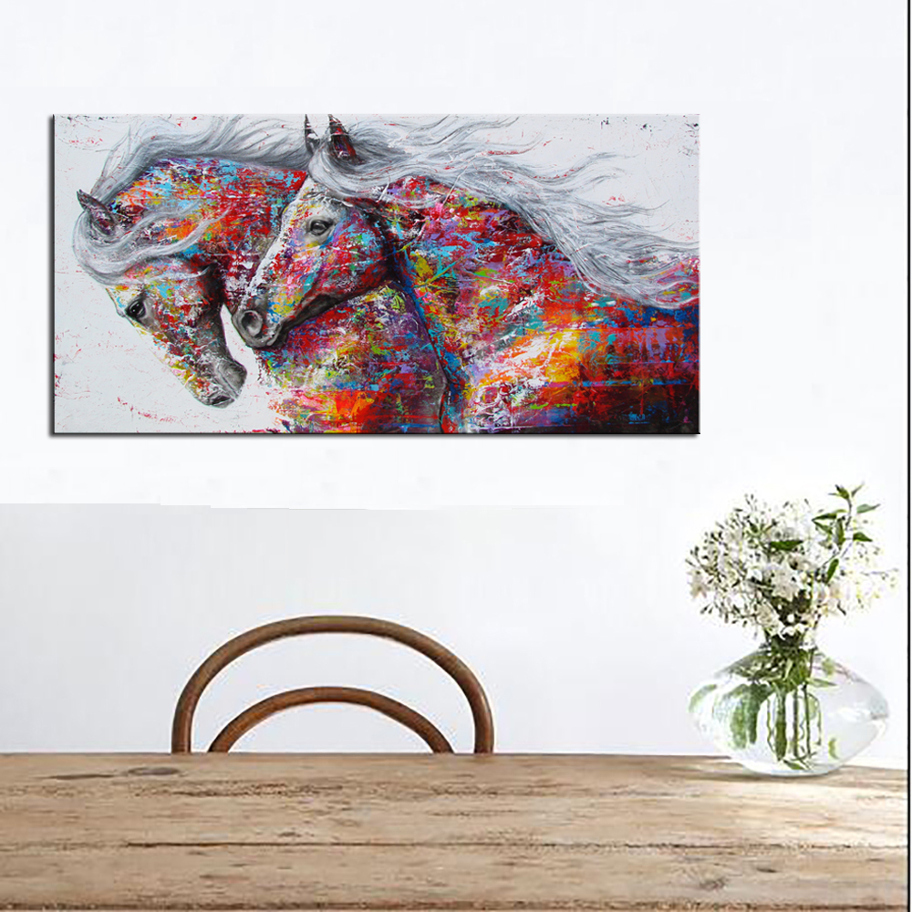 Pop art horse canvas oil painting modern canvas art prints posters beautiful color graffiti art canvas poster for home decor in painting calligraphy from