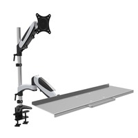 HONGHUA 13 27 Gas Spring Sit Stand Monitor+Keyboard Holder Full Motion Desktop Clamping Mount Arm Monitor Stand Bracket