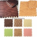 9PCS Wood Interlock EVA Foam Floor Puzzle Pad Work Gym Mat Kid Safety Play Rug