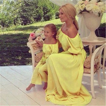 MVUPP mother daughter dresses matching family look 3 color solid solid bohemia becah maxi baby girl dress mommy and me clothes 1