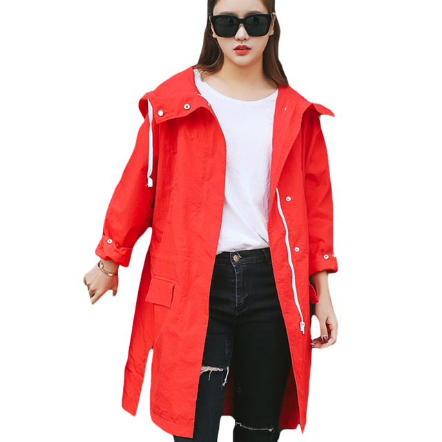 73cbd6b19 2018 Spring Casual Trench Coat Women Side Split Zipper Front Hooded ...