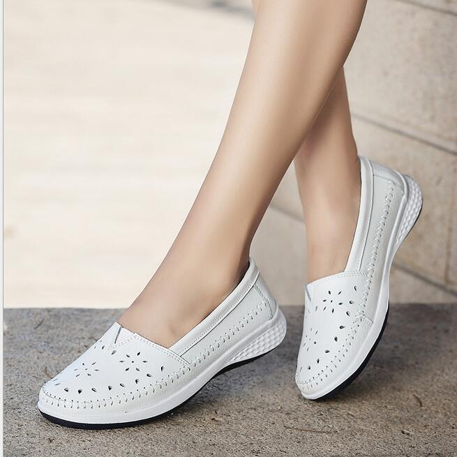 Soft Genuine Leather Women Hole Shoes Ladies Leather