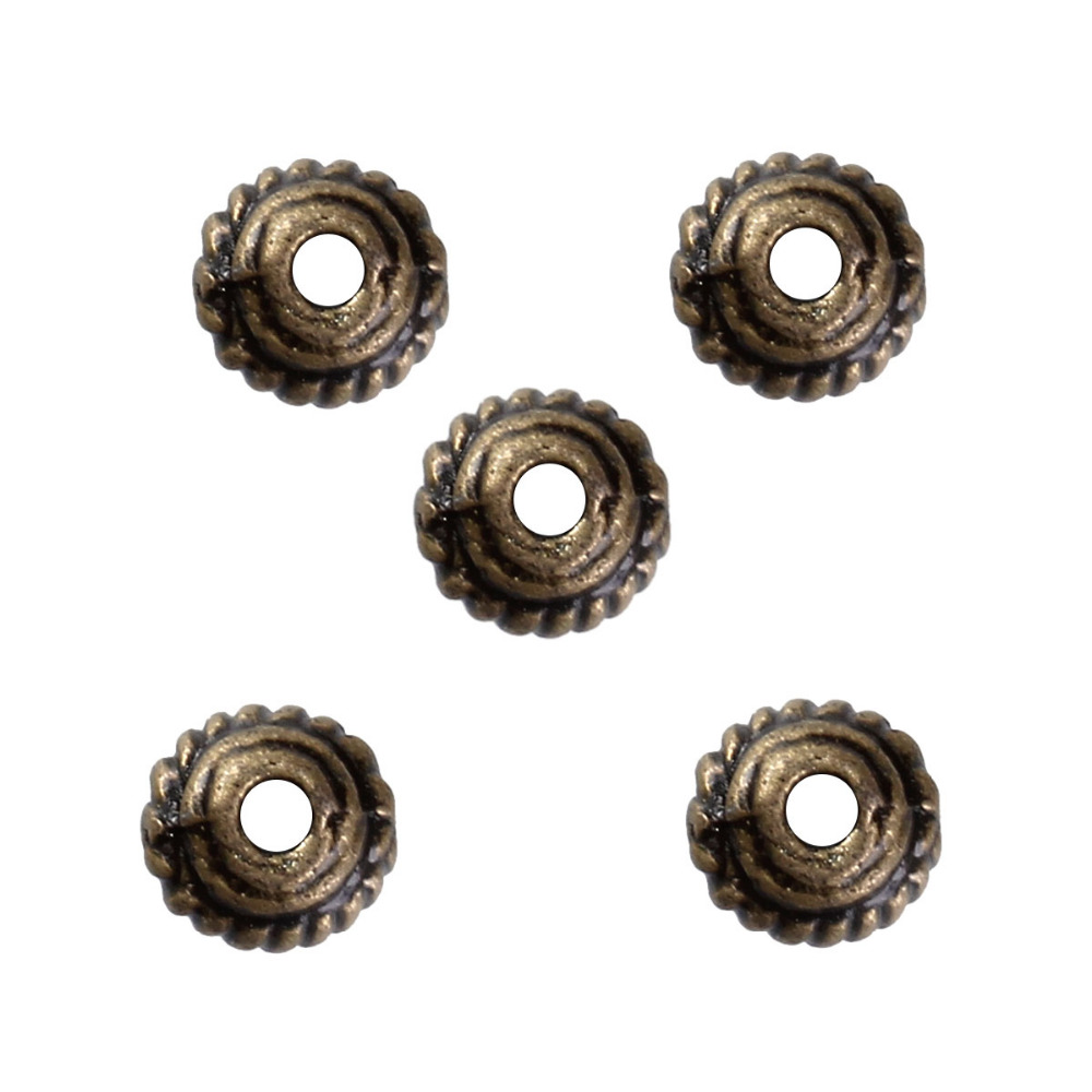 DoreenBeads Zinc Based Alloy Antique Bronze Spacer Beads Wheel DIY Components 5mm x 3mm( 1/8), Hole: Approx 0.8mm, 300 PCs