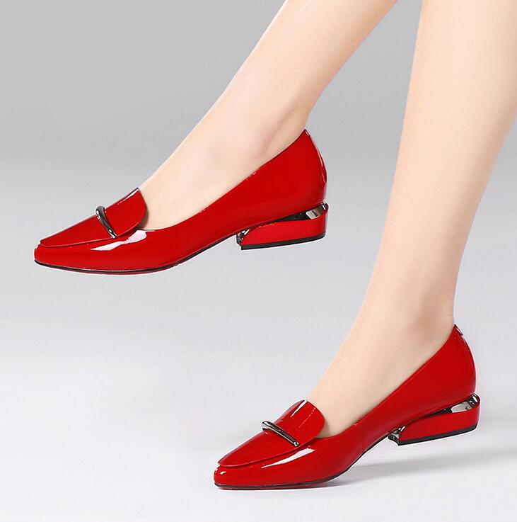 Elegant red Pointed Toe Flat Shoes Women Patent Leather Flats Fashion Slip on Ladies Shoes lady slip on ballet Office shoesElegant red Pointed Toe Flat Shoes Women Patent Leather Flats Fashion Slip on Ladies Shoes lady slip on ballet Office shoes