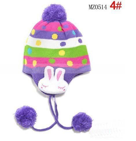 1 шт., 2013New дети точка заячьи ушки защиты вязаная шапка, Зимняя мода теплую шапку, Шапки многоцветный - Цвет: Фиолетовый