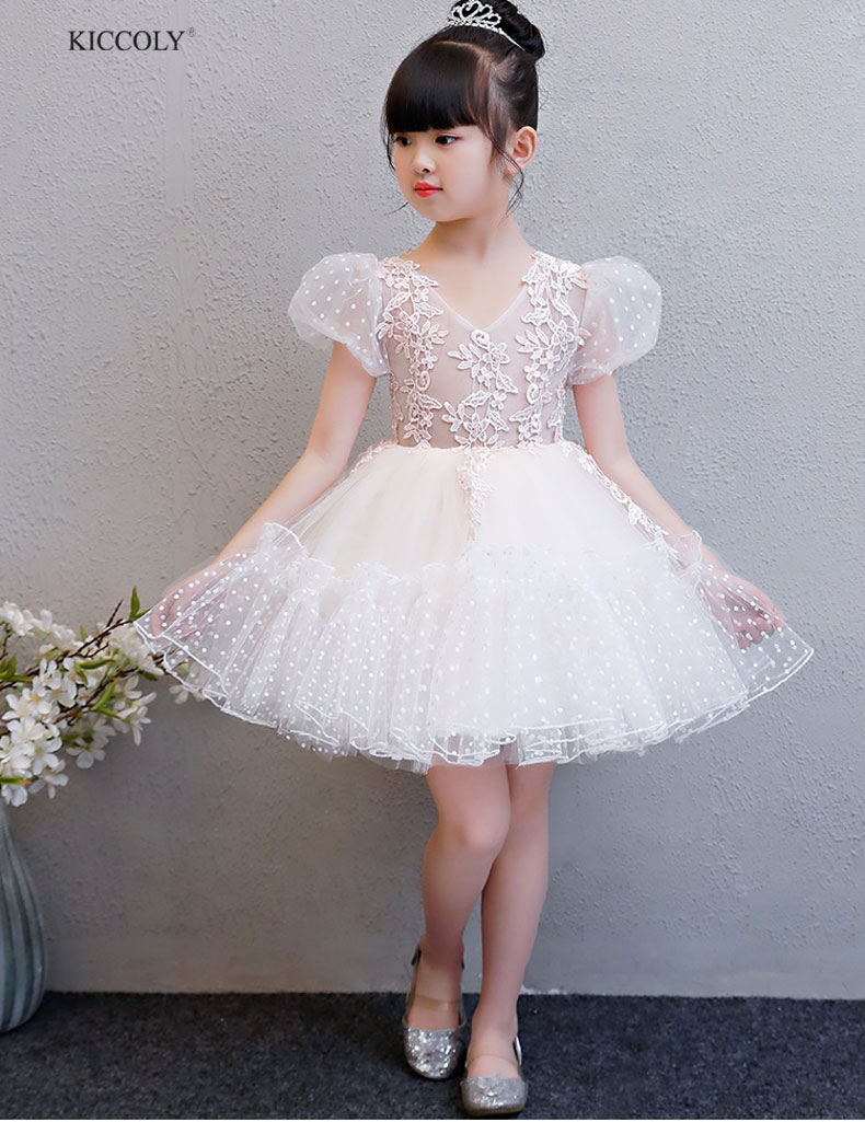 KICCOLY 2018 Elegant Baby Girls Tulle Wave Point Lace Flower Dress Kids White Embroidered Princess Sundress Tutu Gown 2 14T