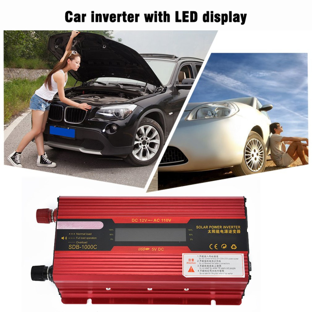1000W Solar Power New Car Inverter High Frequency LCD Display 12V-110V Power Supply Outlet Auto Power Inverter Hot Selling