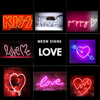LOVE Art Neon Signs Wall Decor Neon Light Sign Not Led Lamp Real Glasss Kiss Words arrow Home Bedroom Room art