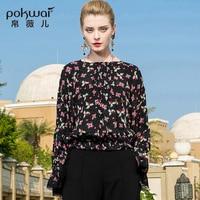 POKWAI Casual Floral Ruffles Silk Blouse Shirt Women Fashion 2018 New Arrival Long Butterfly Sleeve O Neck Retro Chiffon Tops