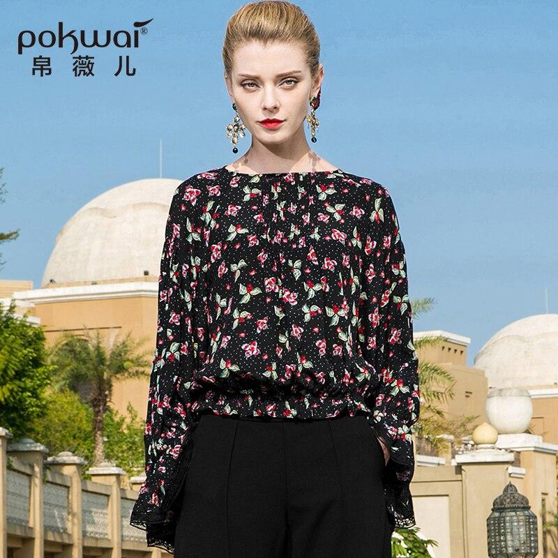 Pokwai Повседневное цветочные оборками шелковая блузка рубашка Для женщин Мода 2018 Новое поступление Длинные бабочки рукавом О образным вырез