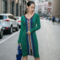 2016 Мода Италия CLUXERCER Бренд Кардиган Свитер Женщин V-образным Вырезом Повседневная Крючком Пальто Женщины Длинные Полосатые Свитера Платье Vestidos