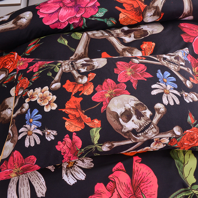 3D FLOWER SKULL CROSS BONES BEDDING SETS