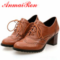 ANMAIRON Nice Cut-out Casual Women Oxfords Pointed Toe Square Heels Oxfords Shoes for Girls Pu Lace-up Beige Black Brown Oxfords
